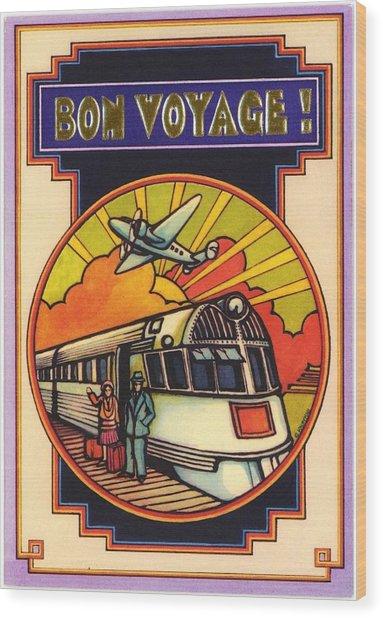 Stylized Bon Voyage Vintage Poster Wood Print