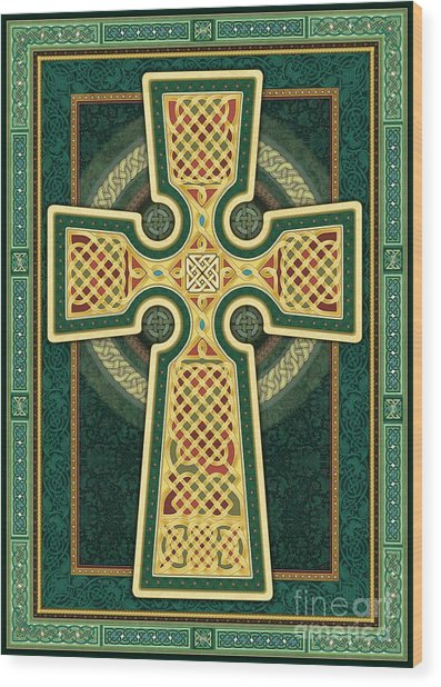 Stylized Celtic Cross In Green Wood Print