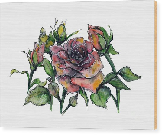 Stylized Roses Wood Print