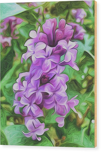 Stylized Spring Lilac By Frank Lee Hawkins Wood Print
