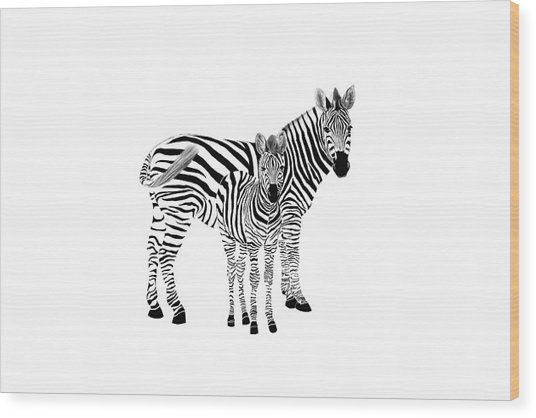 Stylized Zebra With Child Wood Print