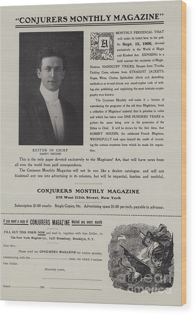 Subscription Form For Conjurers Monthly Magazine, Editor In Chief Harry Houdini, Circa 1906 Wood Print
