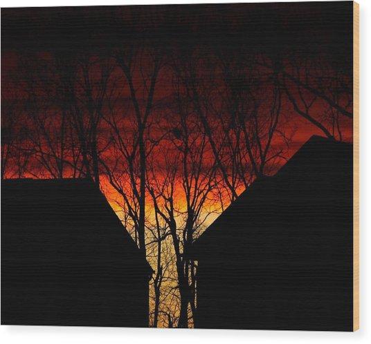 Suburban Sunsert Wood Print