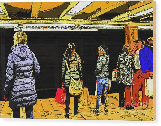 Subway Platform Wood Print by Gino Inocentes
