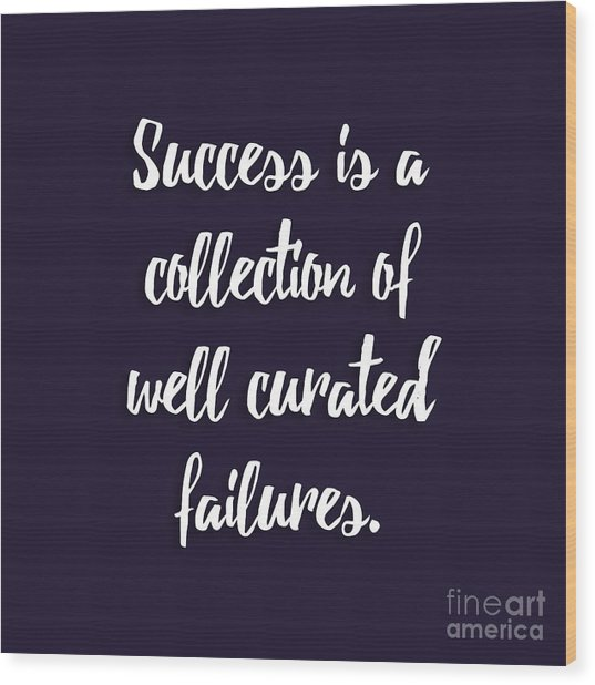 Success Is A Collection Of Well Curated Failures Wood Print
