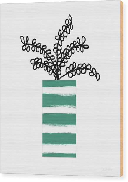 Succulent In Green Pot 1- Art By Linda Woods Wood Print