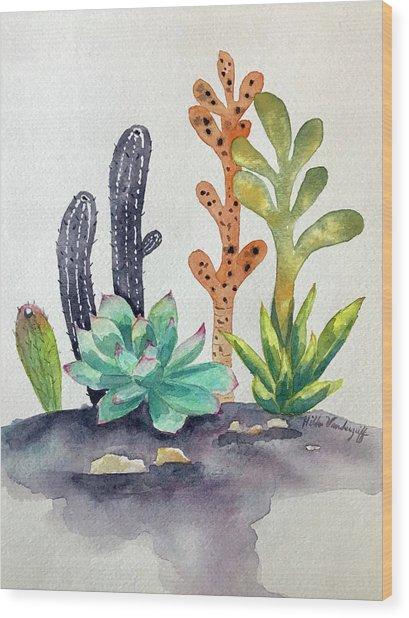 Succulents Desert Wood Print