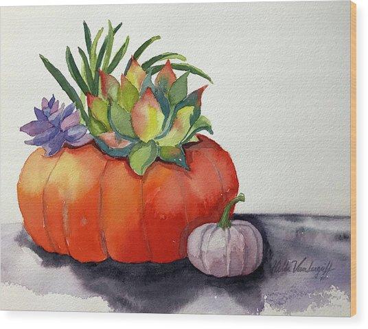Succulents In Pumpkin Wood Print