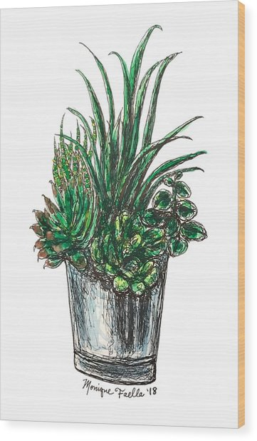 Succulents Wood Print