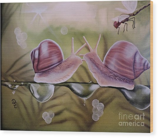 Sue And Sammy Snail Wood Print