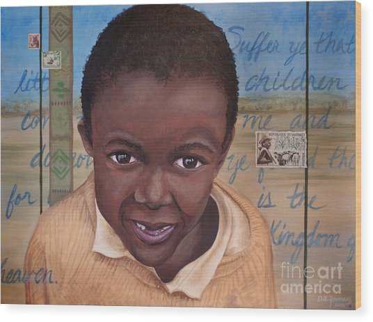 Suffer The Children Wood Print by Dee Youmans-Miller