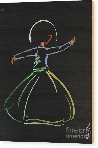 Wood Print featuring the painting Sufi by Nizar MacNojia