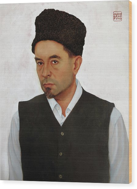 Sufi With Astrakhan Hat Wood Print
