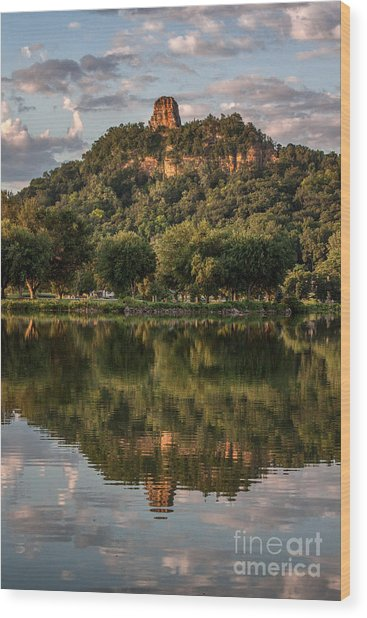 Sugarloaf Reflection Winona Wood Print by Kari Yearous