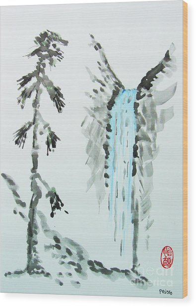 Sugi To Taki Wood Print