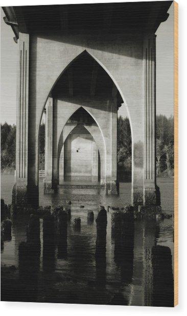 Suislaw River Bridge In Florence Oregon Wood Print