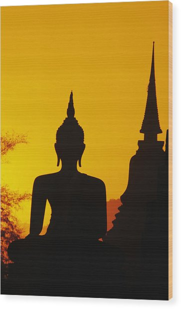 Sukhothai Temple Wood Print