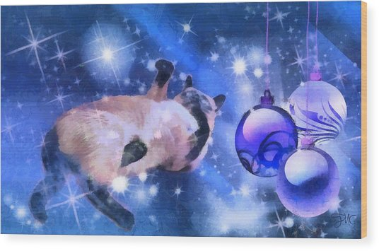 Sulley's Christmas Blues Wood Print