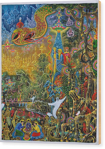 Wood Print featuring the painting Sumac Icaro by Pablo Amaringo
