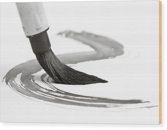 Sumi-e Brush 2 Wood Print by Edward Myers