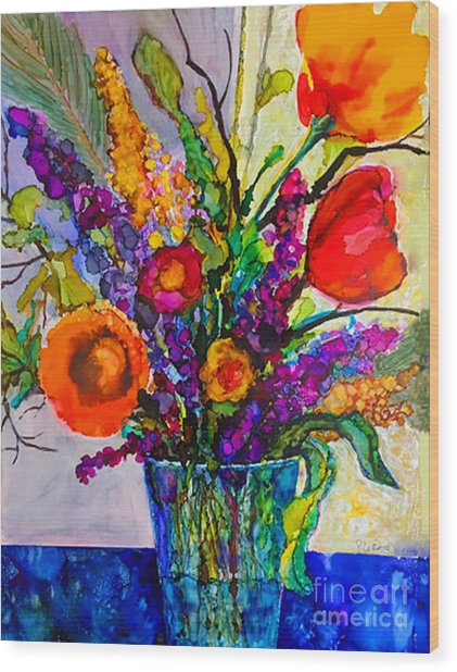 Wood Print featuring the painting Summer Arrangement by Priti Lathia