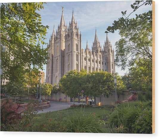 Summer At Temple Square Wood Print