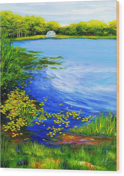 Summer At The Lake Wood Print