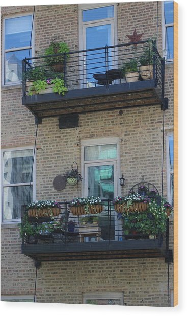 Summer Balconies In Chicago Illinois Wood Print