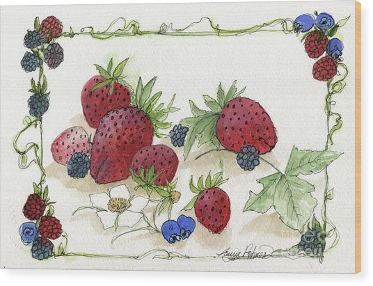 Summer Berries Wood Print