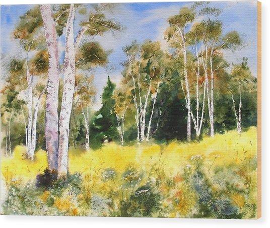 Summer Birches Wood Print