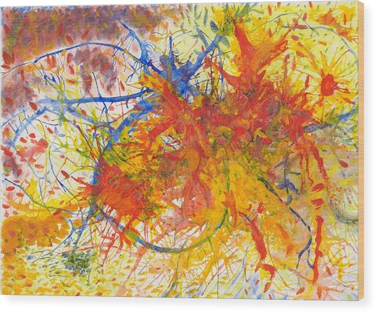 Summer Branches Alfame With Flower Acrylic/water Wood Print