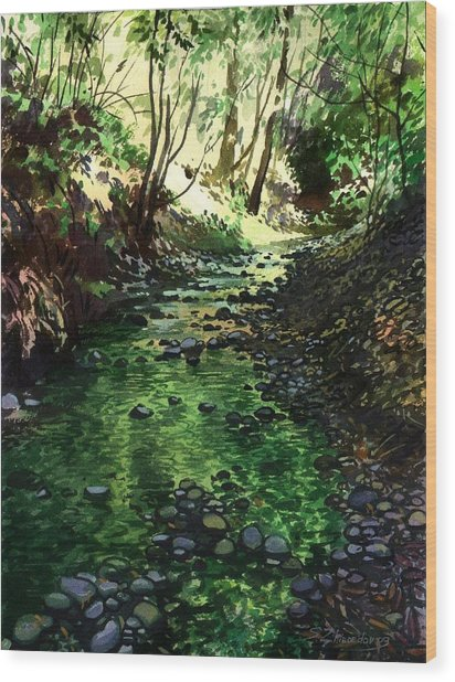 Summer Brook Wood Print