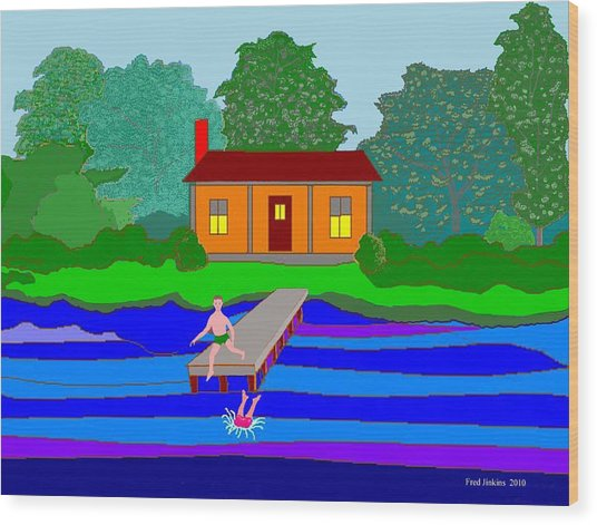 Summer Cabin Wood Print