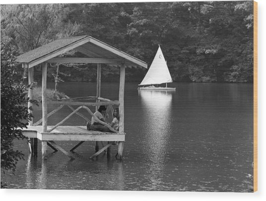 Summer Camp Black And White 1 Wood Print