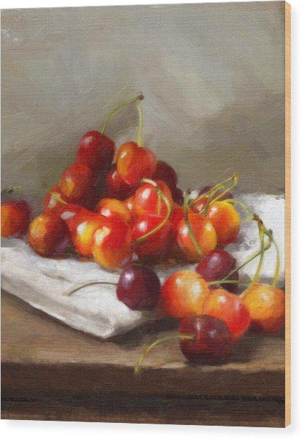 Summer Cherries Wood Print