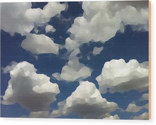 Wood Print featuring the digital art Summer Clouds In A Blue Sky by Shelli Fitzpatrick