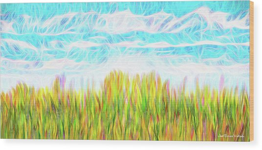 Summer Clouds Streaming Wood Print
