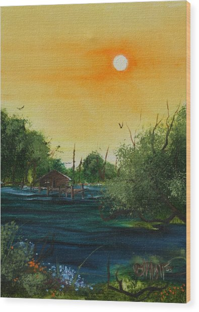 Summer Day At The Lake Wood Print