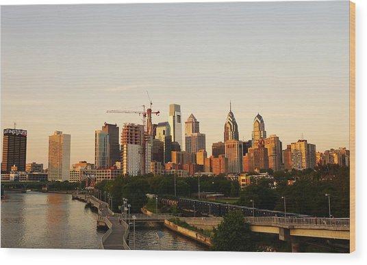 Summer Evening In Philadelphia Wood Print