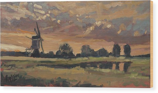 Summer Evening In The Polder Wood Print