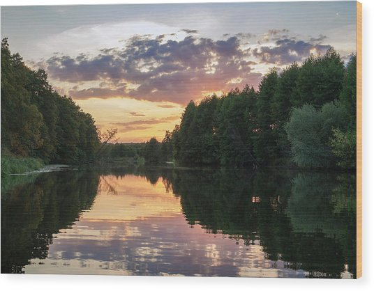 Wood Print featuring the photograph Summer Evening On Snov River. Sedniv, 2015. by Andriy Maykovskyi