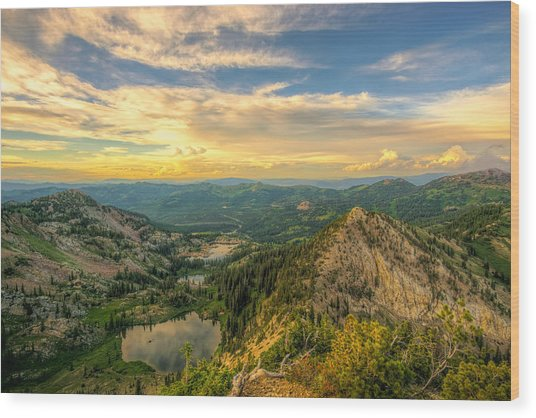 Summer Evening View From Sunset Peak Wood Print