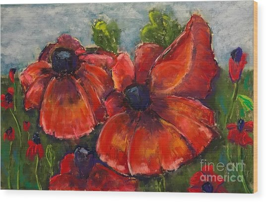 Summer Field Of Poppies Wood Print