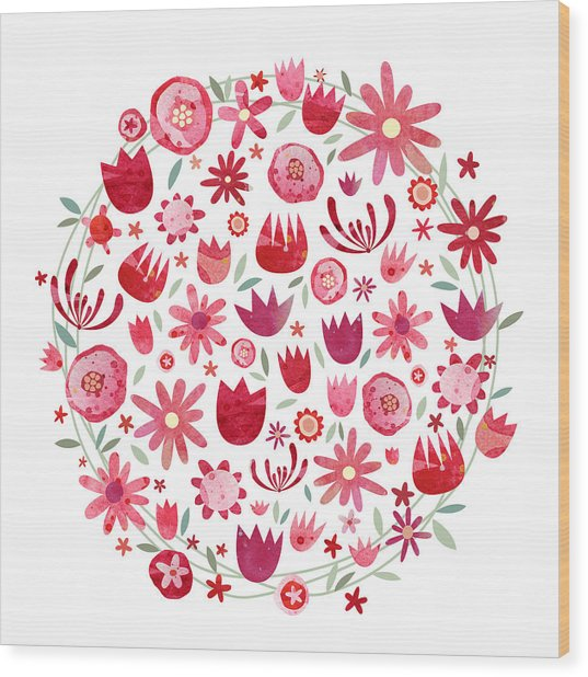 Summer Flower Circle Wood Print by Nic Squirrell