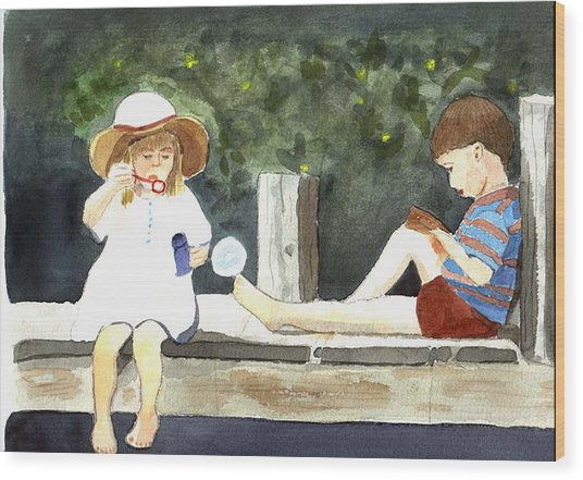 Wood Print featuring the painting Summer Friends by Jane Croteau