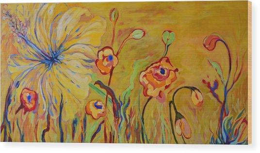 Summer Hibiscus Flower Wood Print