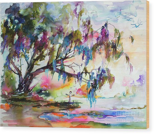 Summer In The Garden Of Good And Evil Watercolor Wood Print
