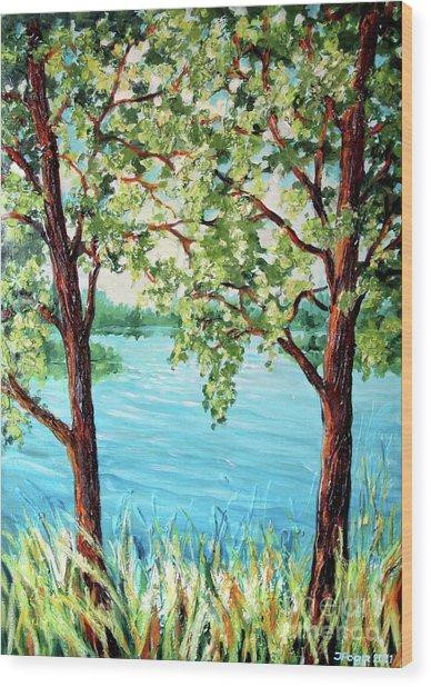 Summer Lake View Wood Print