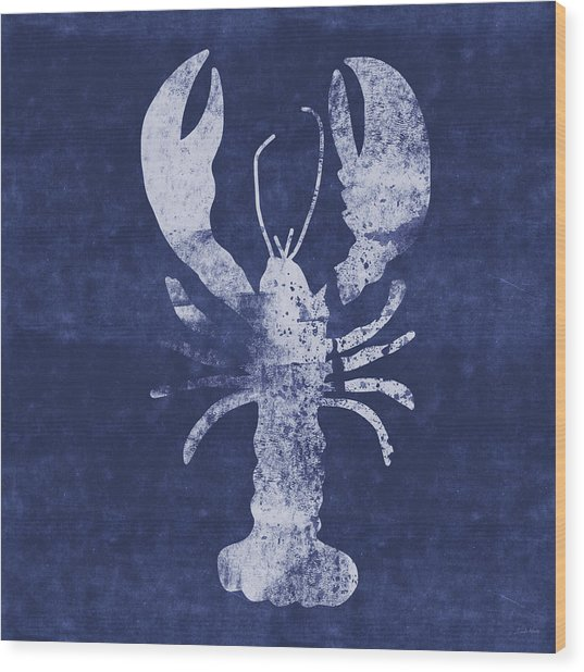 Summer Lobster- Art By Linda Woods Wood Print