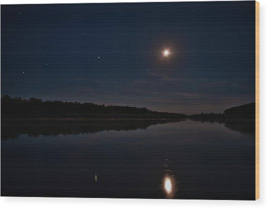 Wood Print featuring the photograph Summer Night Over Desna River. Lebedivka, 2018. by Andriy Maykovskyi